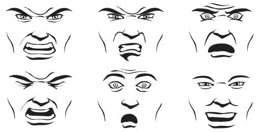 facial displays of fear and anger
