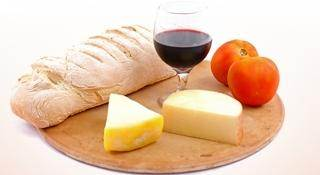 bread cheese and wine